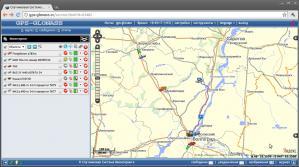 Рабочее окно спутникового GPS ГЛОНАСС мониторинга