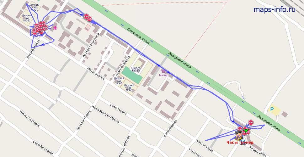 Отрисованный маршрут человека движущегося пешком с момощью часов - трекера: CRT19N-GPS-Watch. Передача пакетов настроена - 1 пакет в одну минуту. Полная продолжительность работы на полностью заряженом аккумуляторе в таком редиме составила больше 7 часов.