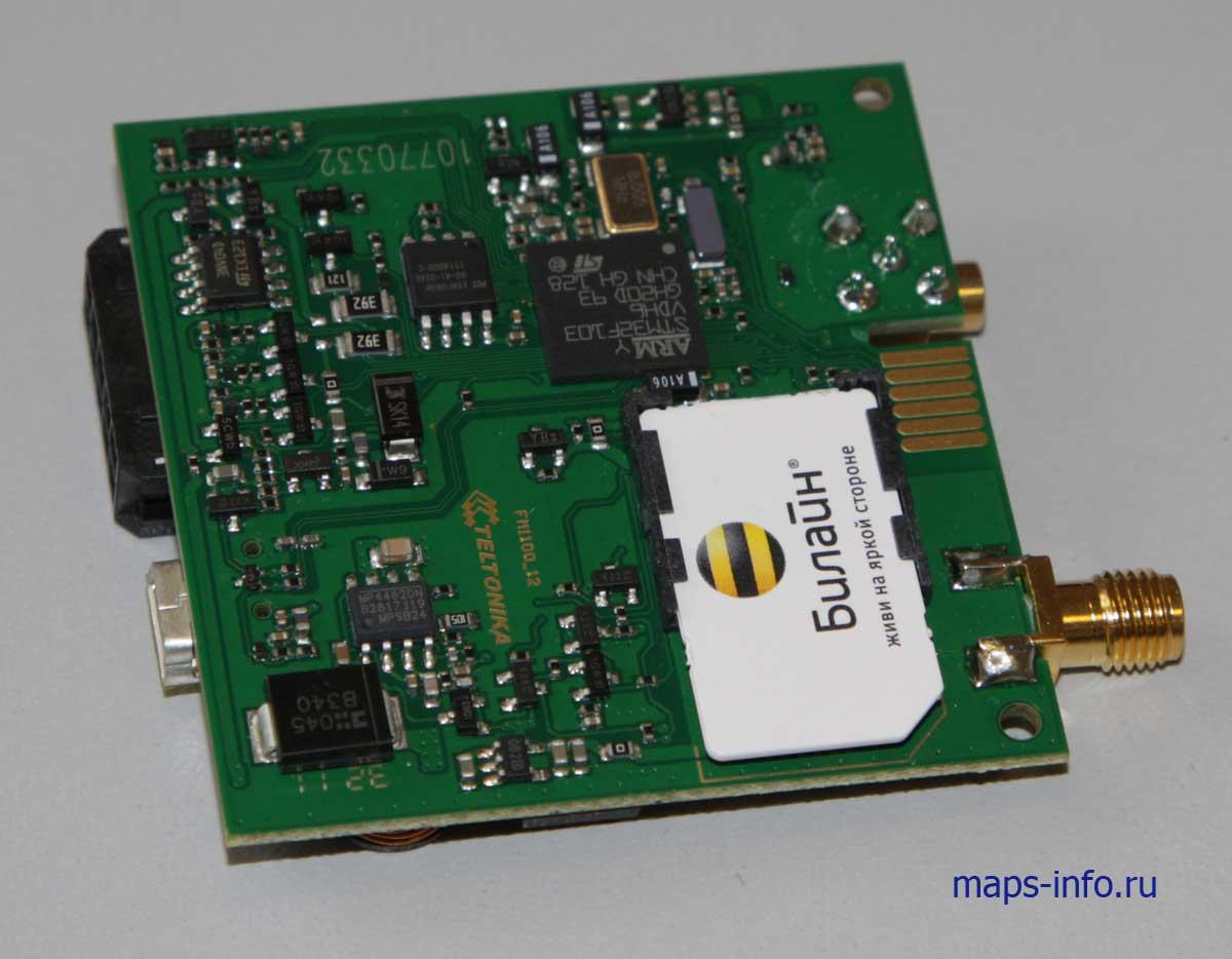 Внутреннее устройство трекера Тельтоника FM1100 со стороны SIM карты