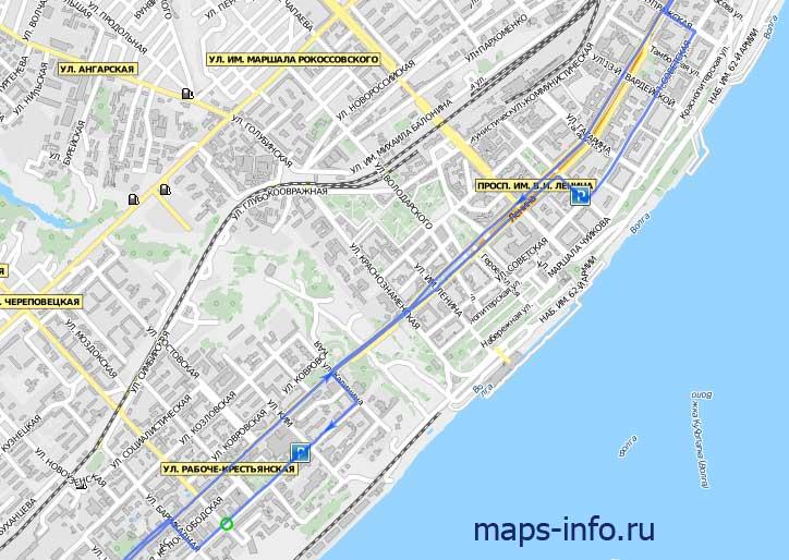 Трек движения автомобиля с ГЛОНАСС терминалом Naviset GT20