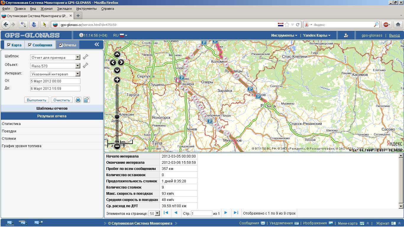 Сформированный отчёт в ситема GPS ГЛОНАСС мониторинга мобильных объектов